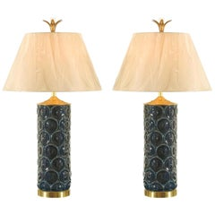 Stunning Restored Pair of Vintage Ceramic, Brass and Lucite Lamps, circa 1970