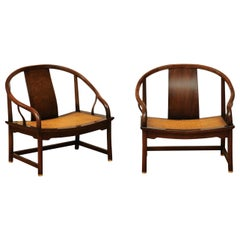 Stunning Restored Pair of Walnut Cane Loungers by Michael Taylor, circa 1960