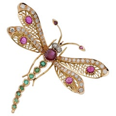 Stunning Retro 7.40 Carat Diamond Ruby Emerald Jewelled Dragonfly Brooch