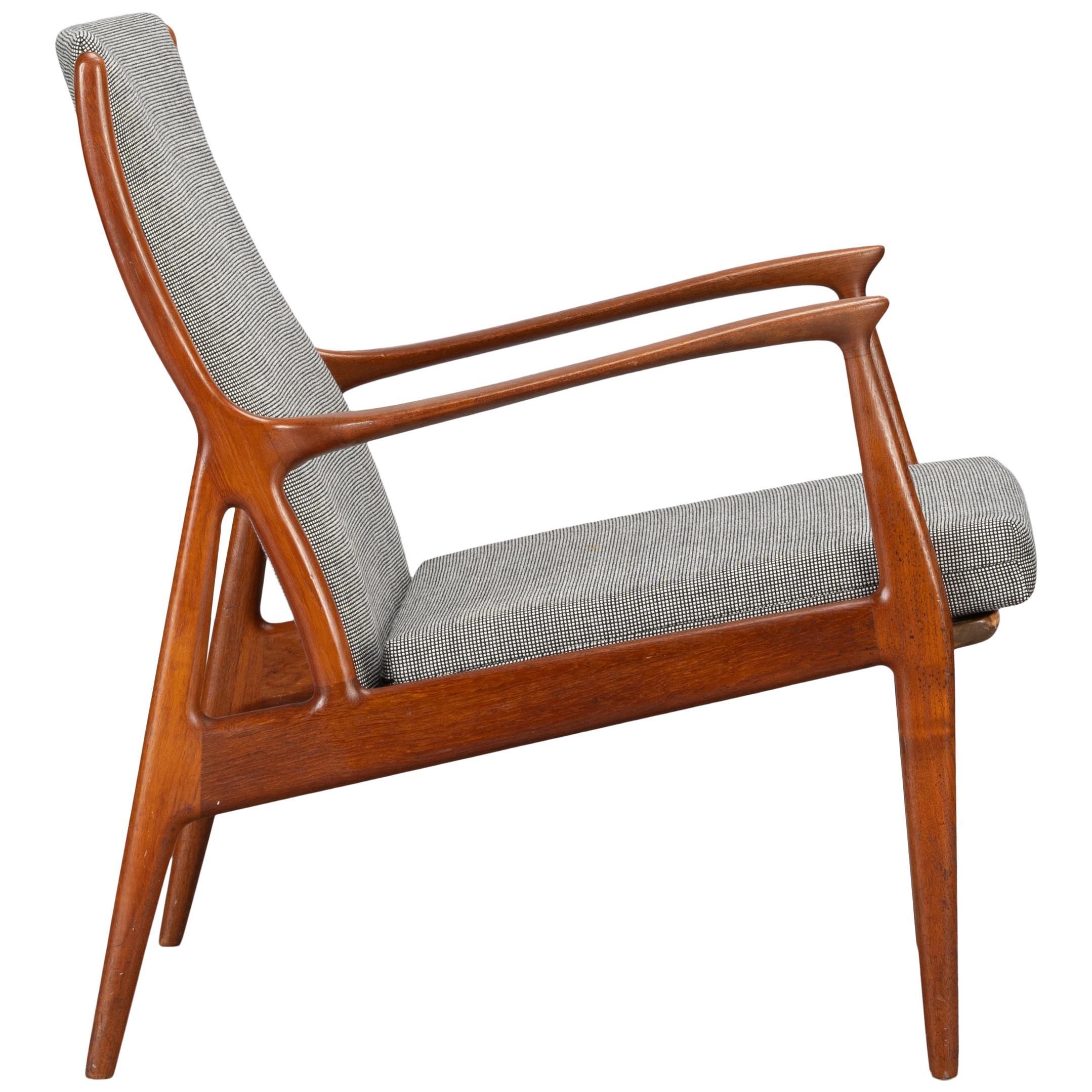 Stunning Reupholstered Teak Lounge Chair by Erik Andersen and Palle Pedersen