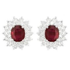 Stunning Rhodolite Garnet and Diamond Set Platinum Earrings