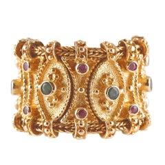 Stunning Ruby Emerald Flexible Ring in 18 Karat