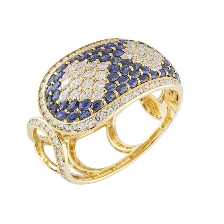 Stunning Sapphire and Diamond Cuff Bangle