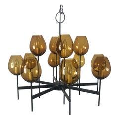 Stunning Scandinavian Blown Glass Globes and Iron Chandelier