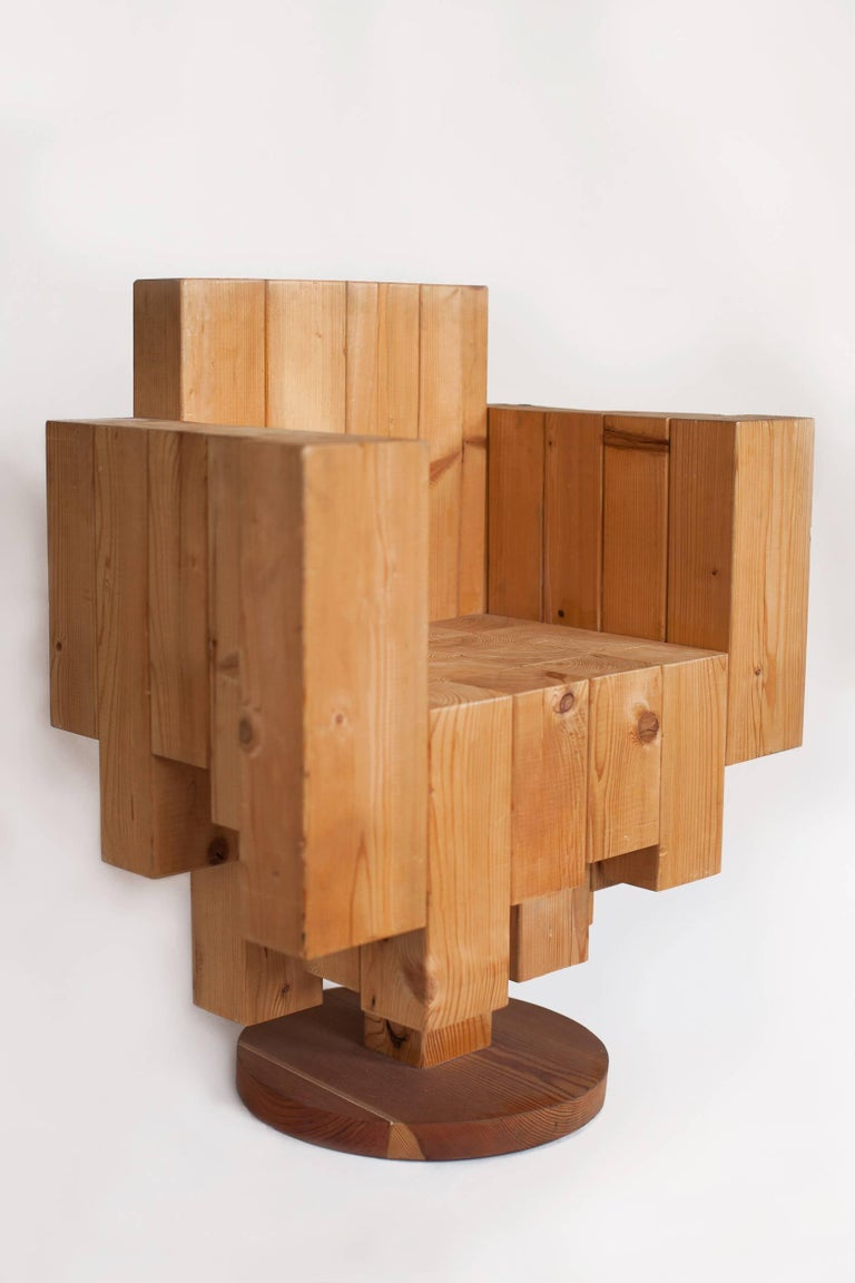 Modern Unique Sculptural Cubist Armchair in Pine Wood by Giorgio Mariani, Italy 2005 For Sale
