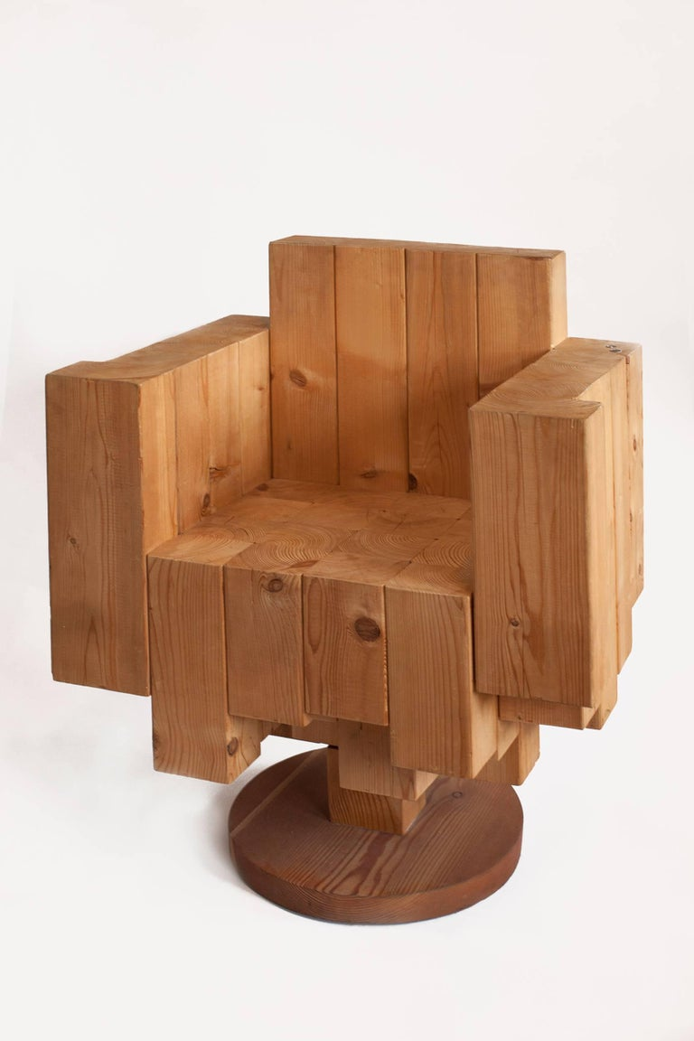 Italian Unique Sculptural Cubist Armchair in Pine Wood by Giorgio Mariani, Italy 2005 For Sale