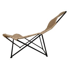 Stunning Sculptural Form Wicker Chaise Attributed to Raoul Guys, France, 1950's