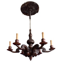 Stunning & Sculptural, Large Wooden Medieval St. Chandelier with Mask Sculptures