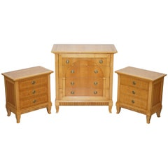Stunning Selva Italy Walnut Bedroom Suite of Chest Drawers and Bedside Tables