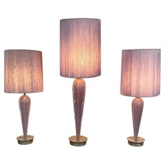 Stunning Set 3 Modernist Murano Lamps, by Seguso, Lavender, Original Shades