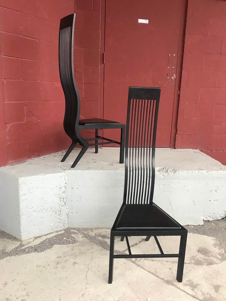 Stunning set 8 modernist black lacquer and leather dining chairs, by Arata Isozaki, Tendo Mekko co. Ltd, contemporary modern, purchased in the early 1980s, all chairs retain original label as well as brass plaque with series number, Very early. Low