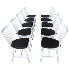 Stunning Set of 10 Dining Room Side Chairs Designed by Carl Malmsten for Stolab