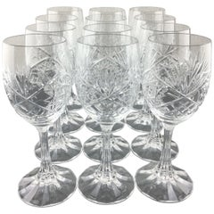 Stunning Set of 12 Baccarat Crystal Wine Glasses