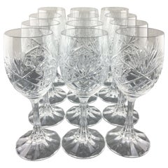 Stunning Set of 12 Baccarat Crystal Wine Glasses