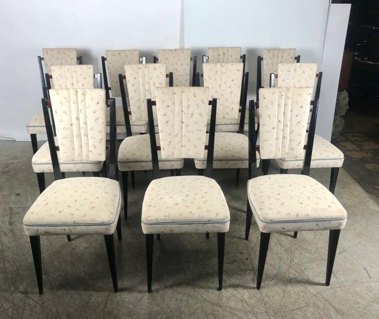Mid-Century Modern Stunning Set of 12 Italian Modernist Dining Chairs Attributed to Osvaldo Borsani For Sale