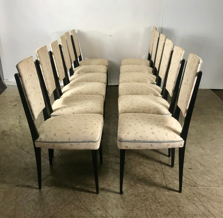 Lacquered Stunning Set of 12 Italian Modernist Dining Chairs Attributed to Osvaldo Borsani For Sale