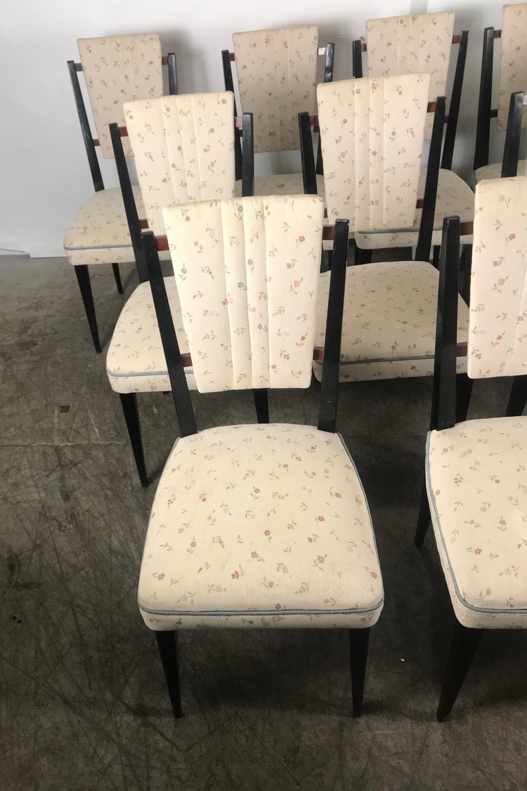 Stunning Set of 12 Italian Modernist Dining Chairs Attributed to Osvaldo Borsani In Good Condition For Sale In Buffalo, NY