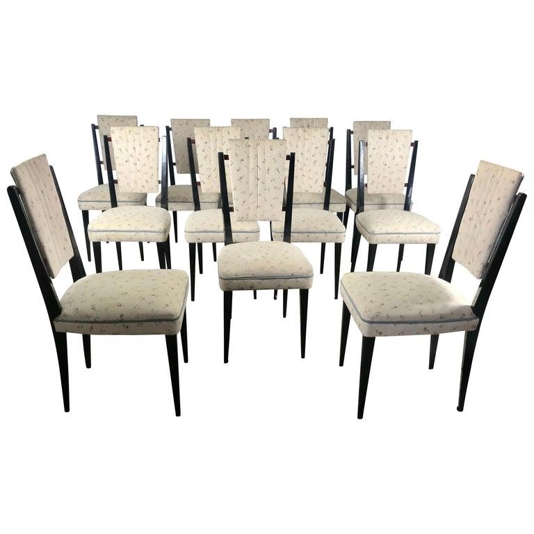 Stunning Set of 12 Italian Modernist Dining Chairs Attributed to Osvaldo Borsani For Sale