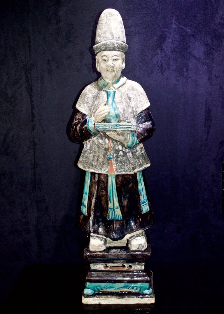 Chinese Stunning Set of 3 Elegant Court Attendants - Ming Dynasty, China 1368-1644 AD TL For Sale