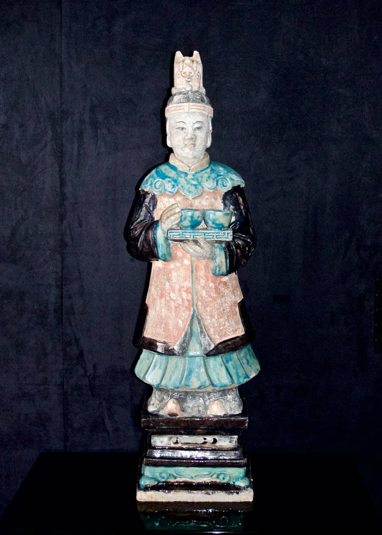 Terracotta Stunning Set of 3 Elegant Court Attendants - Ming Dynasty, China 1368-1644 AD TL For Sale