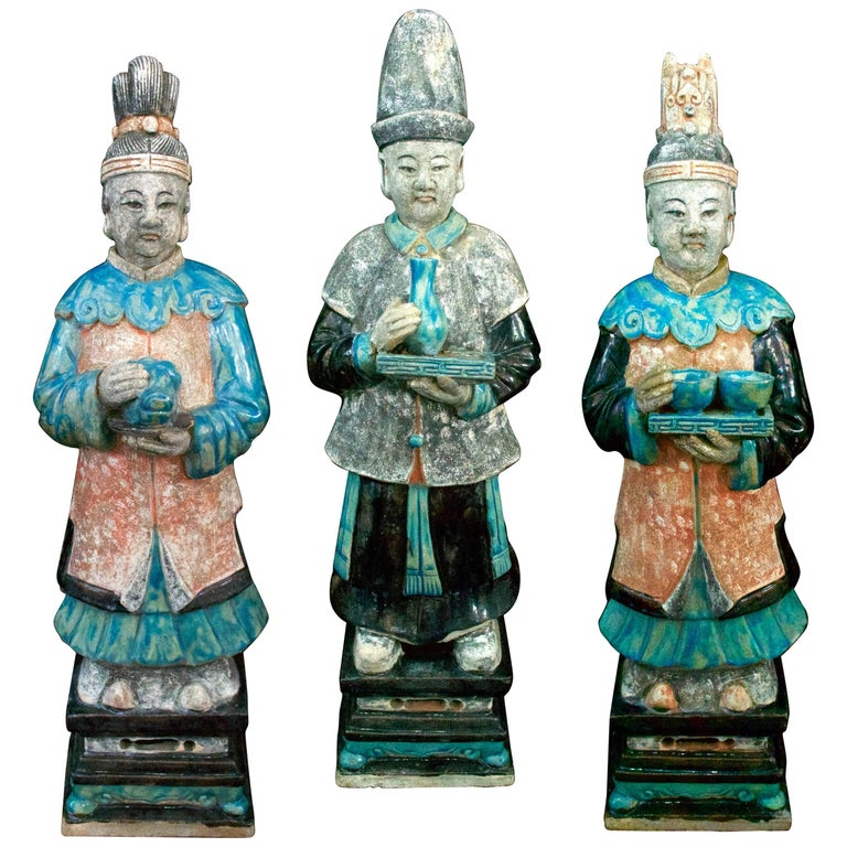 Stunning Set of 3 Elegant Court Attendants - Ming Dynasty, China 1368-1644 AD TL For Sale