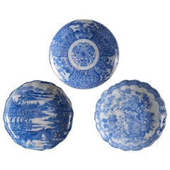 Stunning Set of 3 White Ceramic Plates with Ornate Indigo Blue Designs