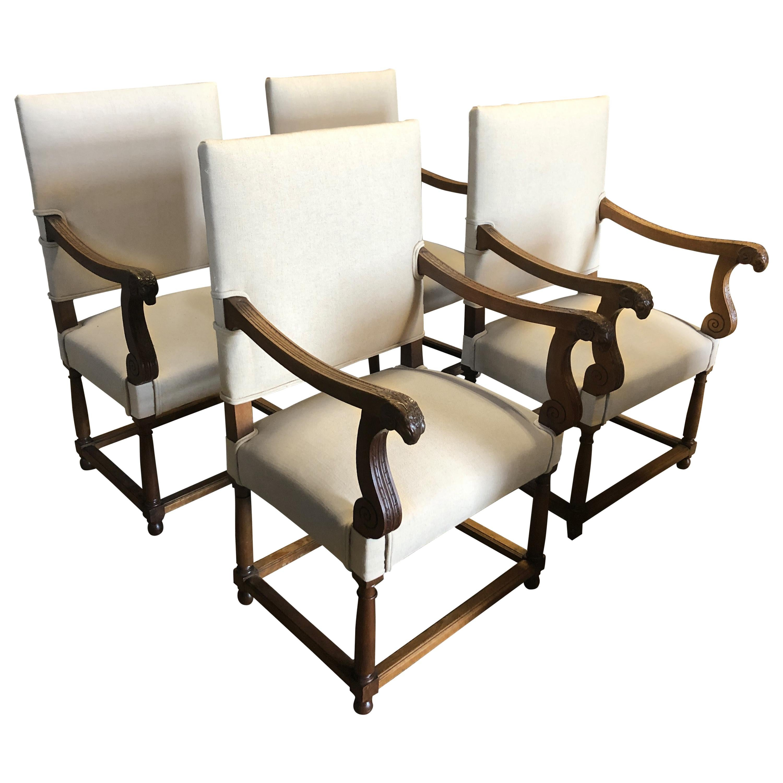 Stunning Set of 4 Carved Walnut Ram's Head Armchairs