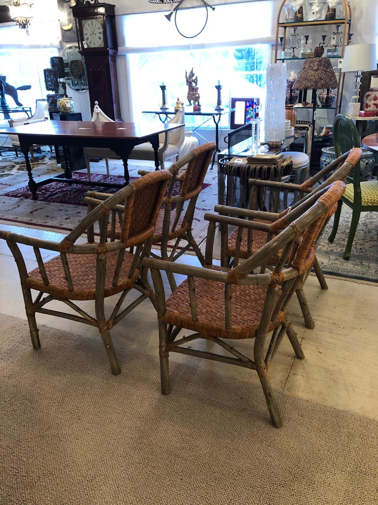 Stunning Set of 4 Faux Bois and Woven Rattan Captain Style Dining Chairs For Sale 4