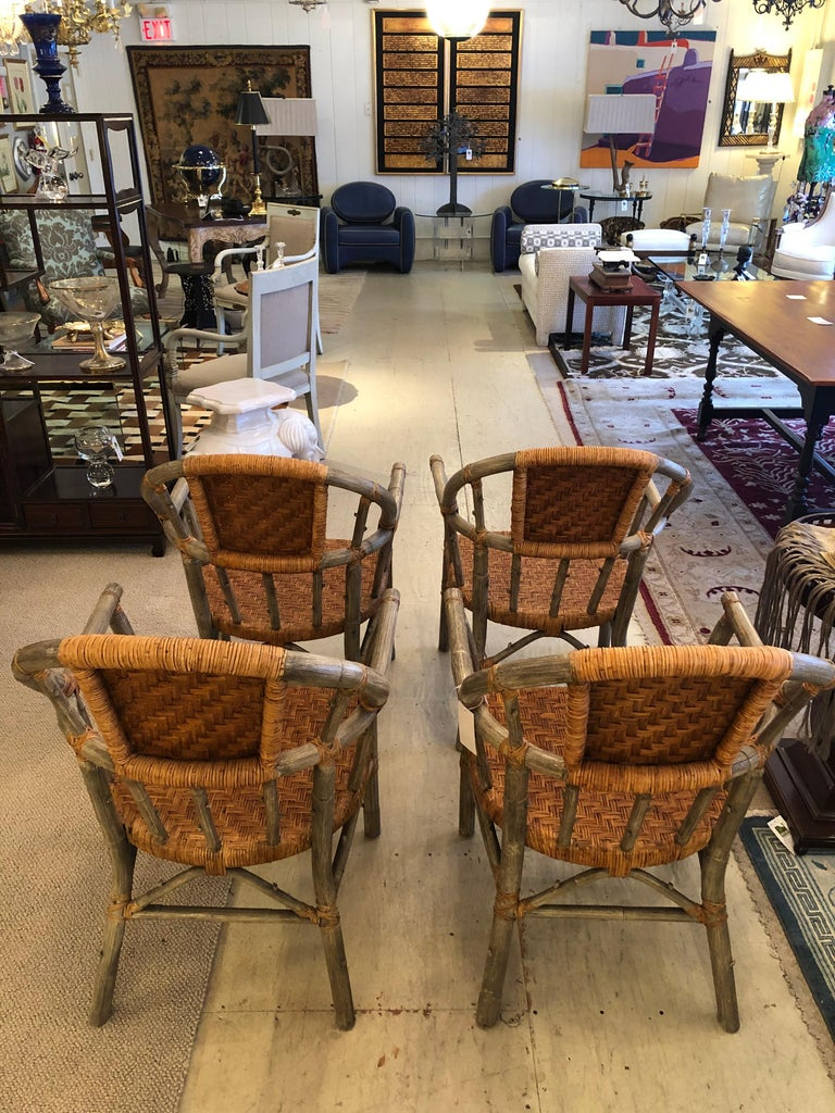 Stunning Set of 4 Faux Bois and Woven Rattan Captain Style Dining Chairs For Sale 5