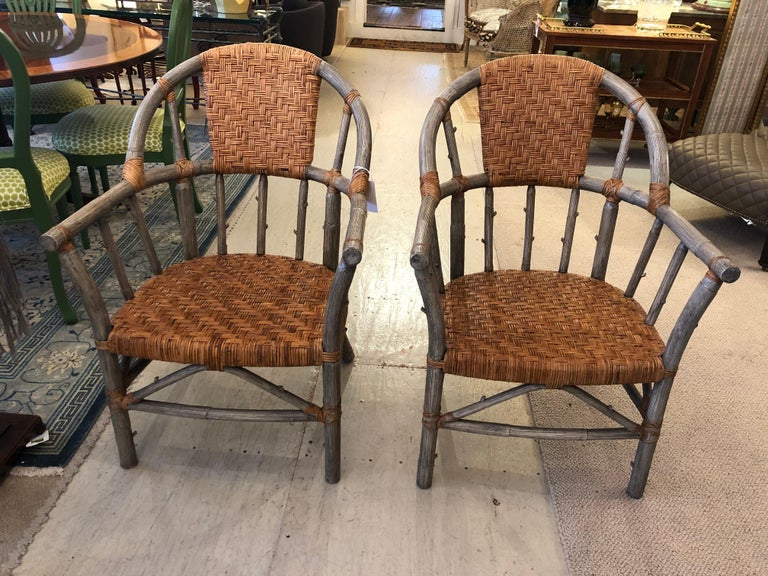 Stunning Set of 4 Faux Bois and Woven Rattan Captain Style Dining Chairs In Good Condition For Sale In Hopewell, NJ