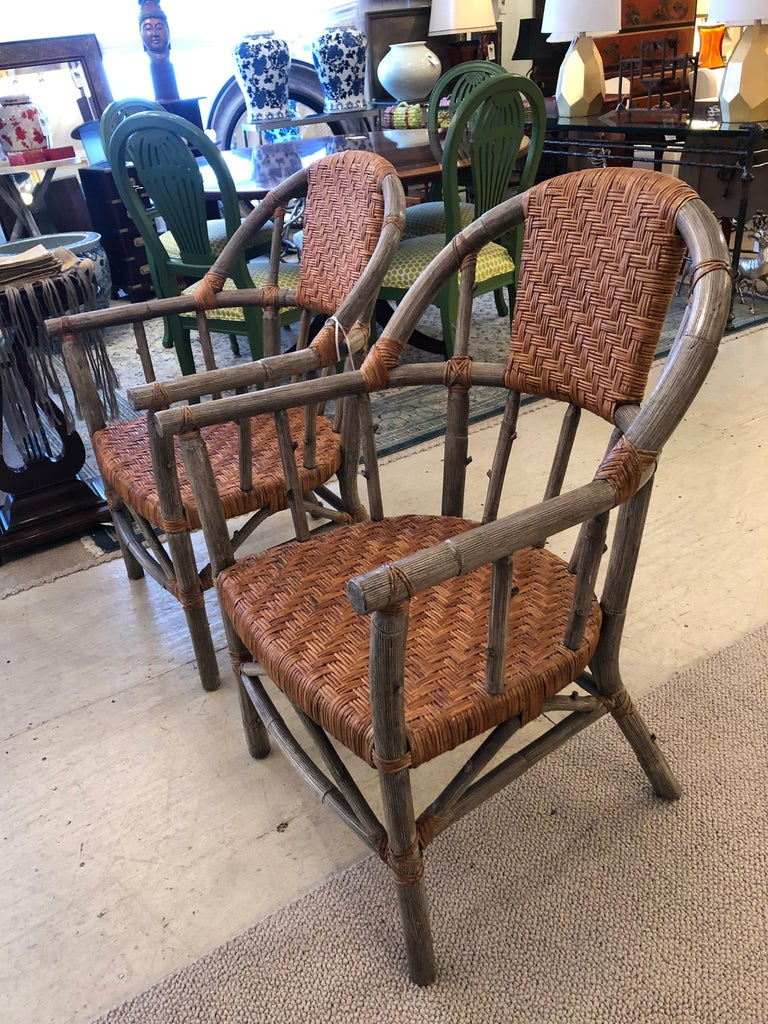 Late 20th Century Stunning Set of 4 Faux Bois and Woven Rattan Captain Style Dining Chairs For Sale