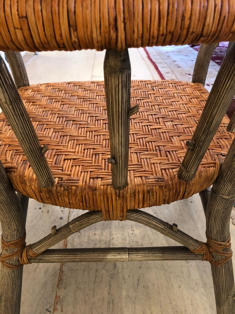 Twig Stunning Set of 4 Faux Bois and Woven Rattan Captain Style Dining Chairs For Sale