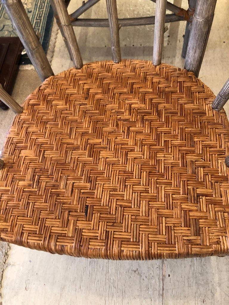 Stunning Set of 4 Faux Bois and Woven Rattan Captain Style Dining Chairs For Sale 3