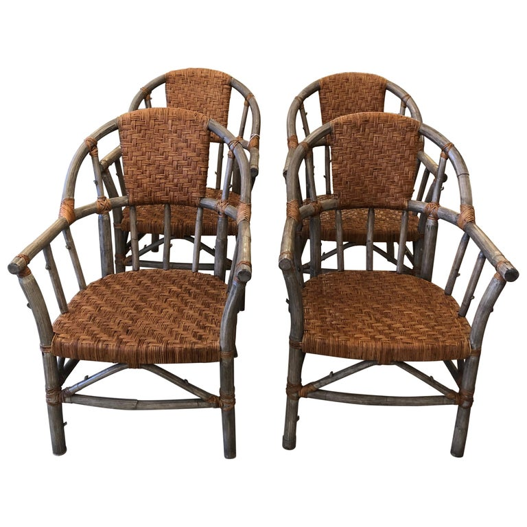 Stunning Set of 4 Faux Bois and Woven Rattan Captain Style Dining Chairs For Sale