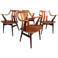 Stunning Set of 4 Vintage Retro 1960's Organic Teak Dining Chairs