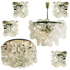 "Stunning Set of 6 Massive J.T. Kalmar ""Catena"" Murano Glass Light Fixtures"