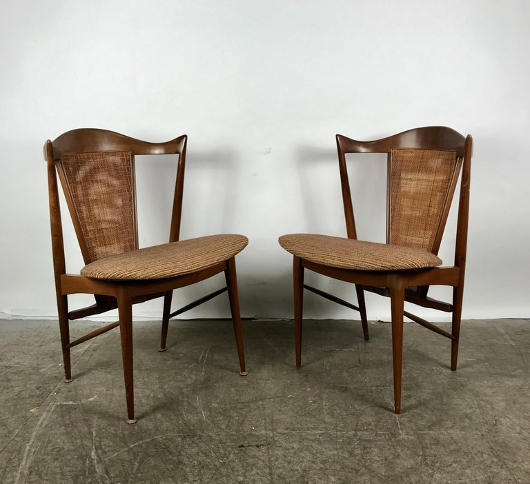 Stunning set of 6 modernist walnut and cane sculptural dining chairs, attributed to Edmond Spence, retains original Knoll quality fabric, amazing design, extremely comfortable, superior quality and construction hand delivery avail to New York City