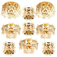 "Stunning Set of 9 Massive J.T. Kalmar ""Catena"" Murano Glass Light Fixtures 1970s"