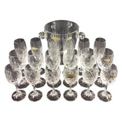 Stunning Set of Baccarat Crystal Wine, Water Glasses, Champagne Flutes & Bucket