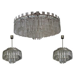 Stunning Set of Haevy Cut Glass and Nickel Chandeliers by Palwa, circa 1960s