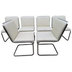 Stunning Set of Six Brueton Cantilevered Chrome Dining Chairs, Midcentury