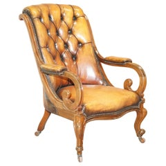 Stunning Show Framed Early Victorian Chesterfield Brown Leather Library Armchair