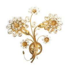 "Stunning Single Vintage Gold-Plated ""Palwa"" Crystal Flower Sconces"
