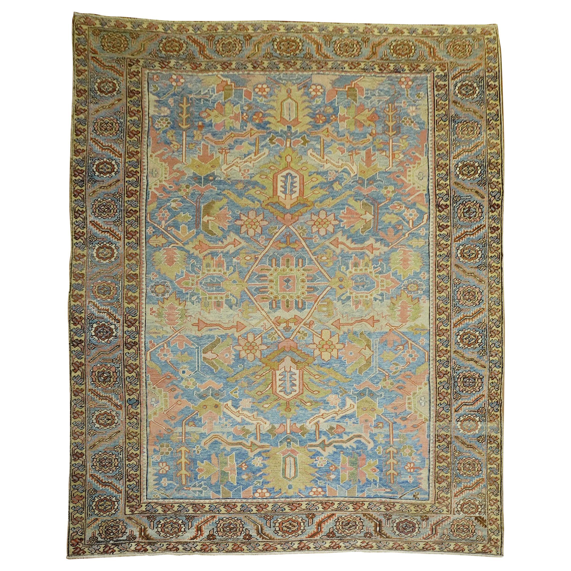 Stunning Sky Blue Antique Persian Heriz Rug