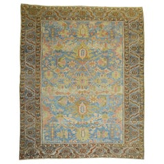Stunning Sky Blue Antique Persian Heriz Rug