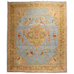 Stunning Sky Blue Antique Turkish Oushak Large Room Size Carpet