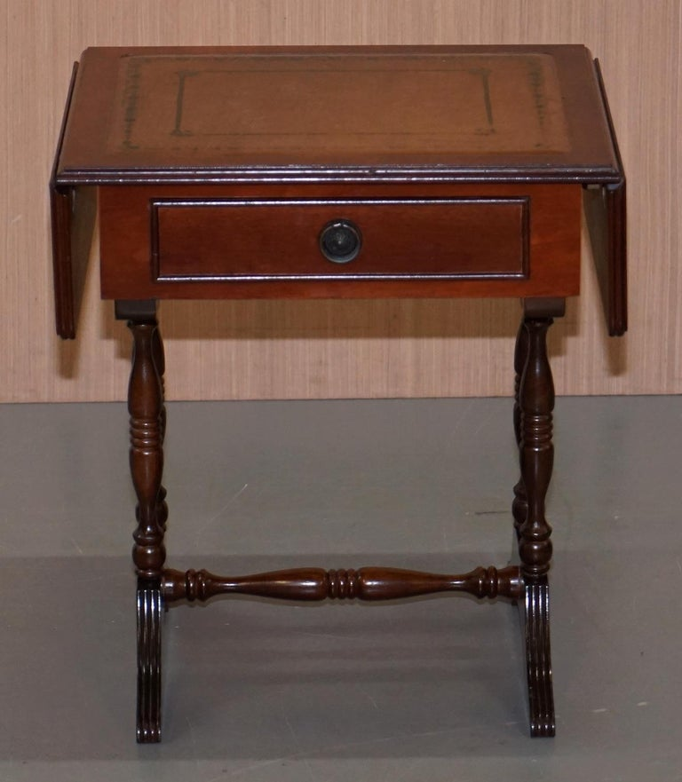 Stunning Small Side Table With Extending Brown Leather Gold Leaf