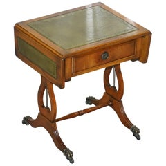 Stunning Small Side Table with Extending Green Leather Gold Leaf Embossed Top