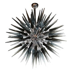 Stunning Smoked Grey Hand Blown Murano Glass Spiked Starburst Chandelier