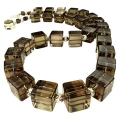 Stunning Smoky Quartz Cube Necklace